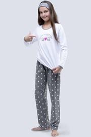 Weißer Pyjama für Mädchen Meow