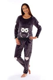 Damen Pyjama Owl graphit